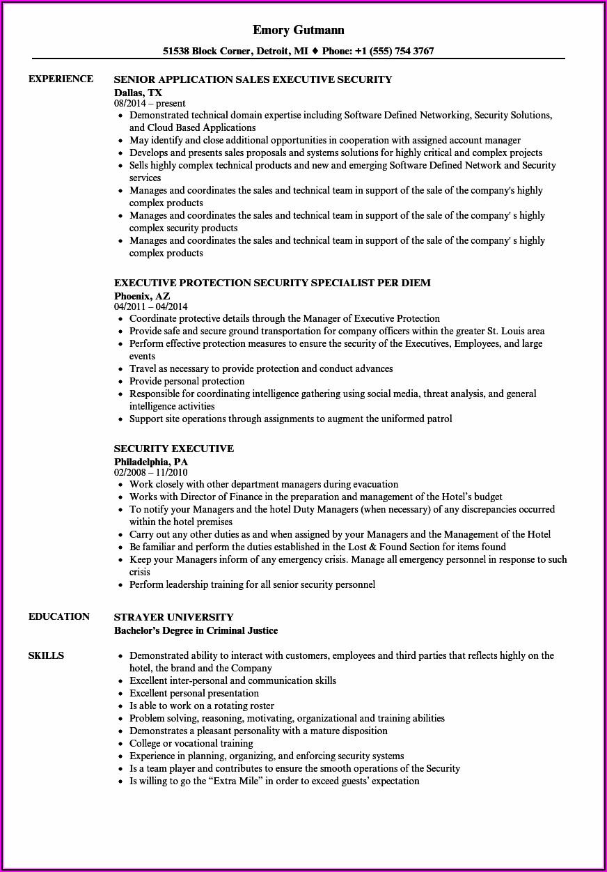 Resume Examples Executives