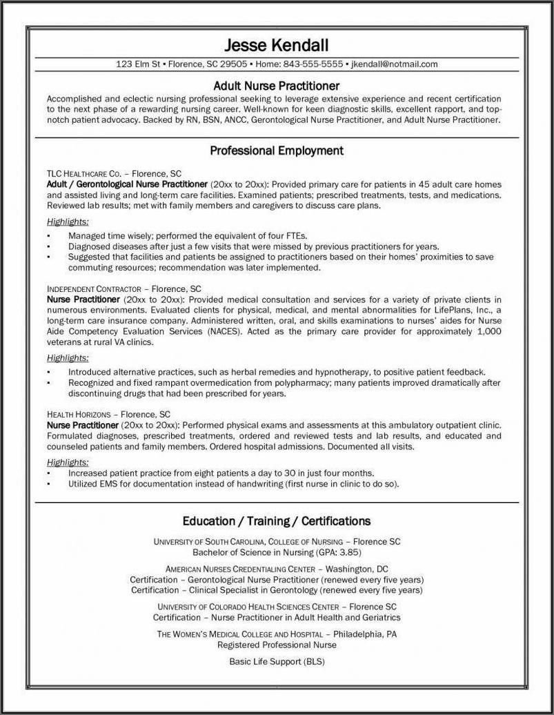 Resume Examples For Registered Nurses