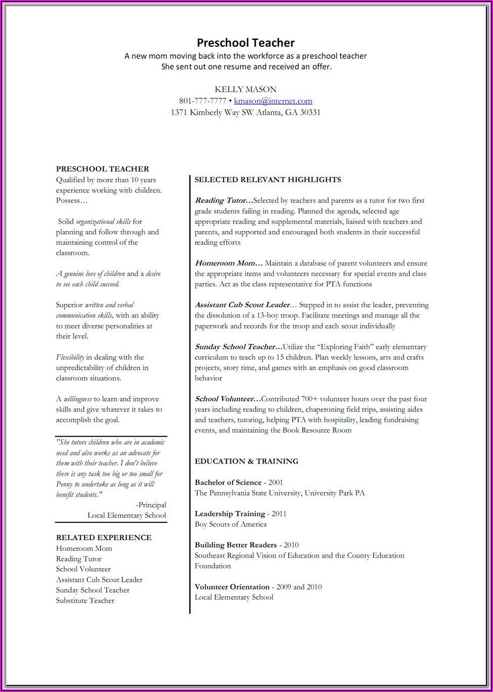 Resume Examples For Teacher Jobs