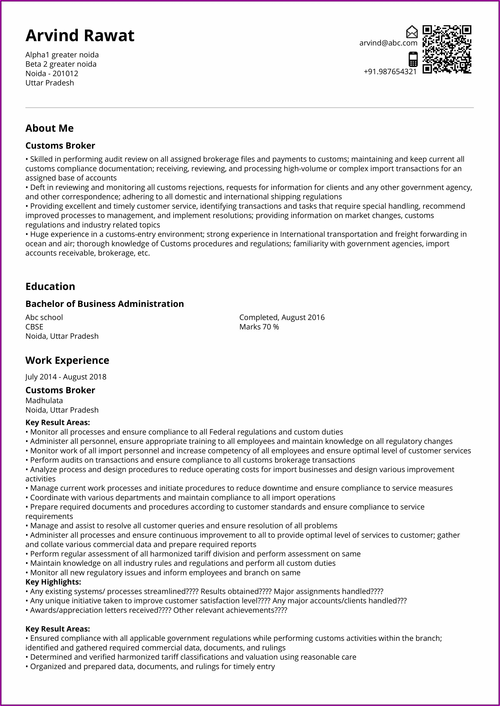 Resume For Freight Forwarding Company