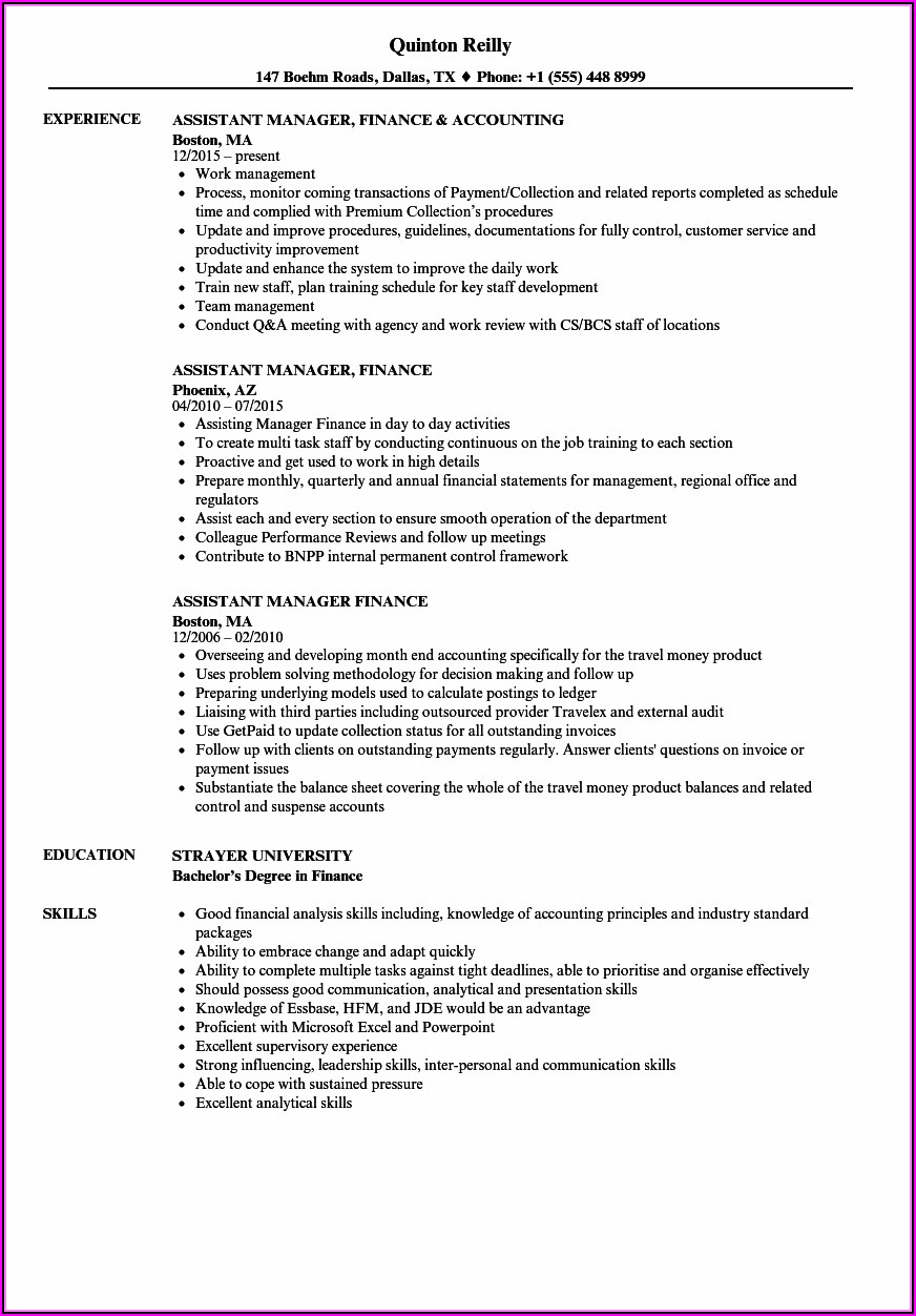 Resume Format For Assistant Manager Accounts In India