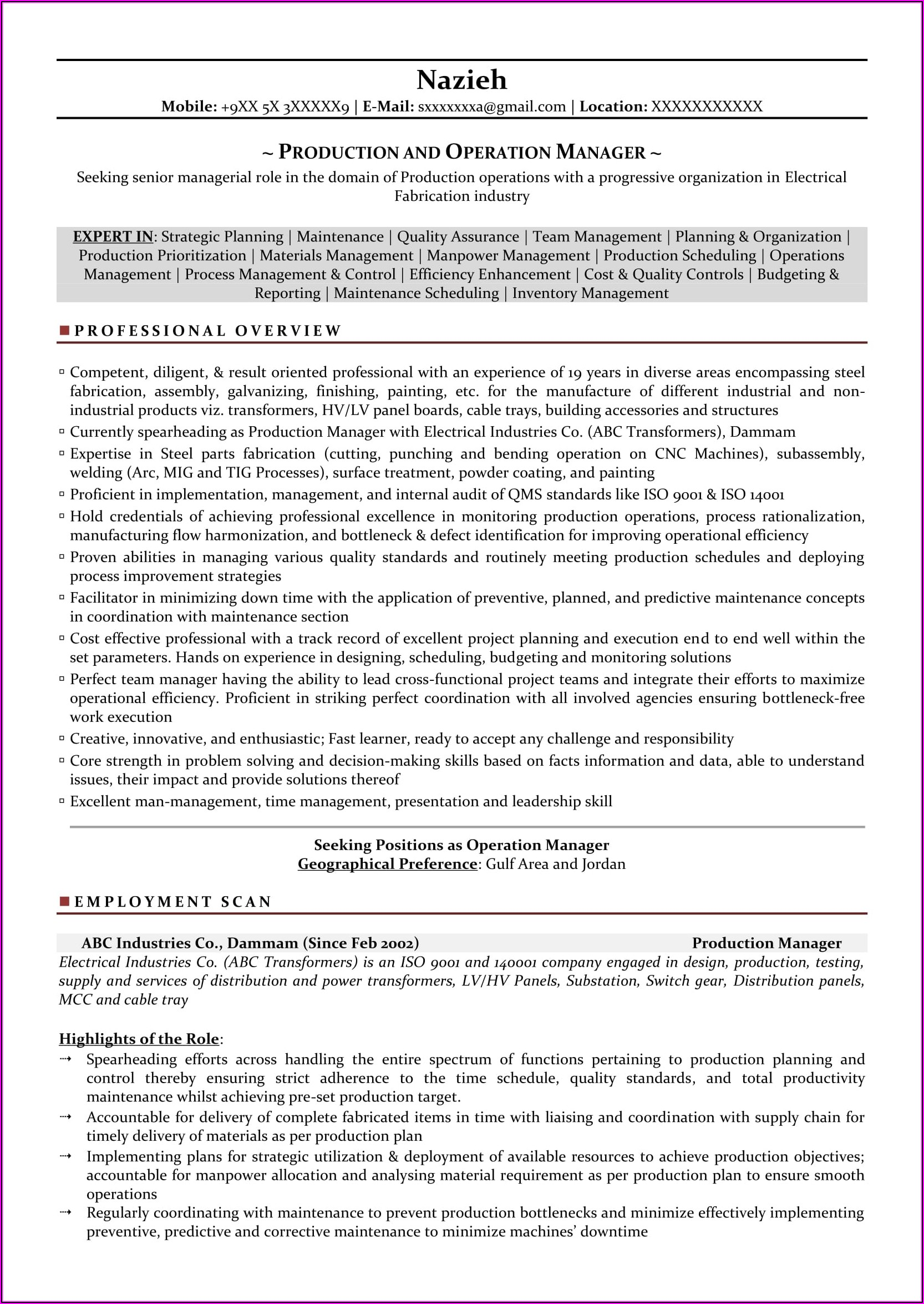 Resume Format For Assistant Manager Production