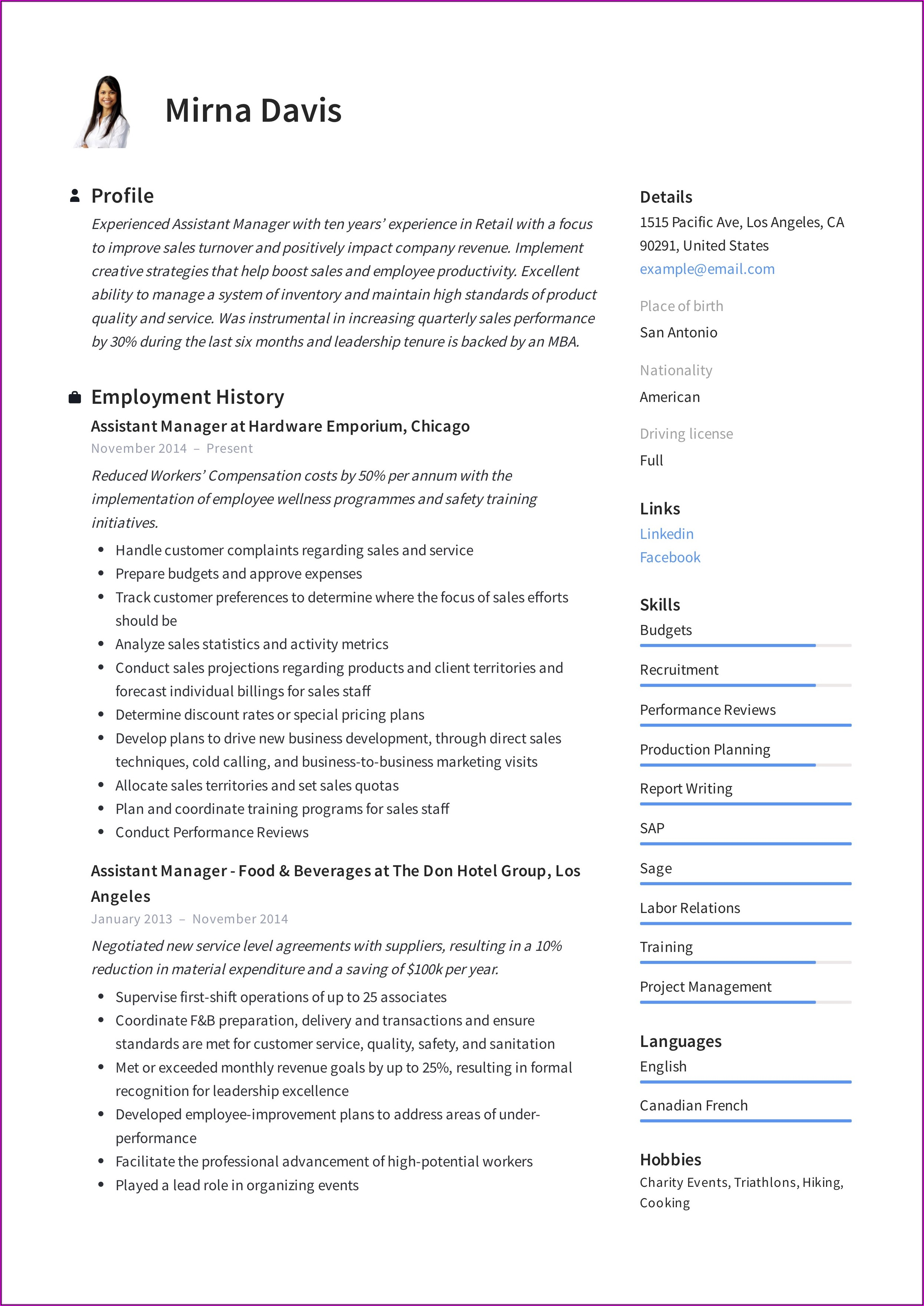 Resume Format For Assistant Manager Quality