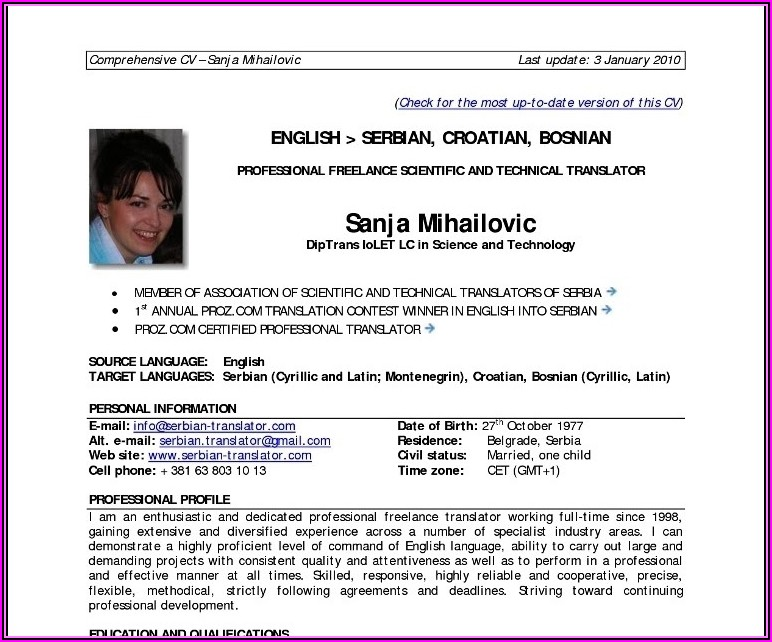 Resume Format For Experienced It Professionals Download