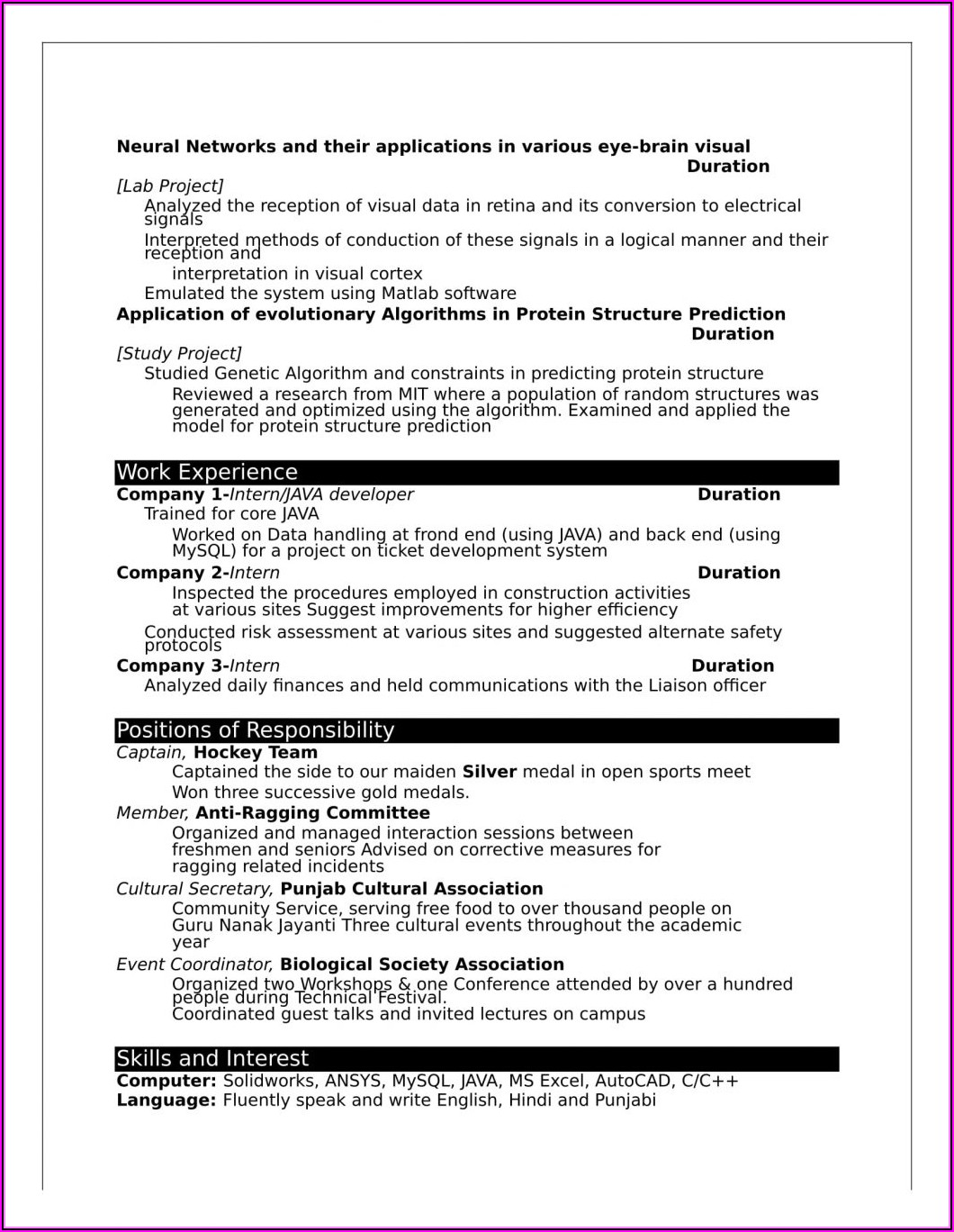 Resume Format For Freshers In Ms Word Free Download