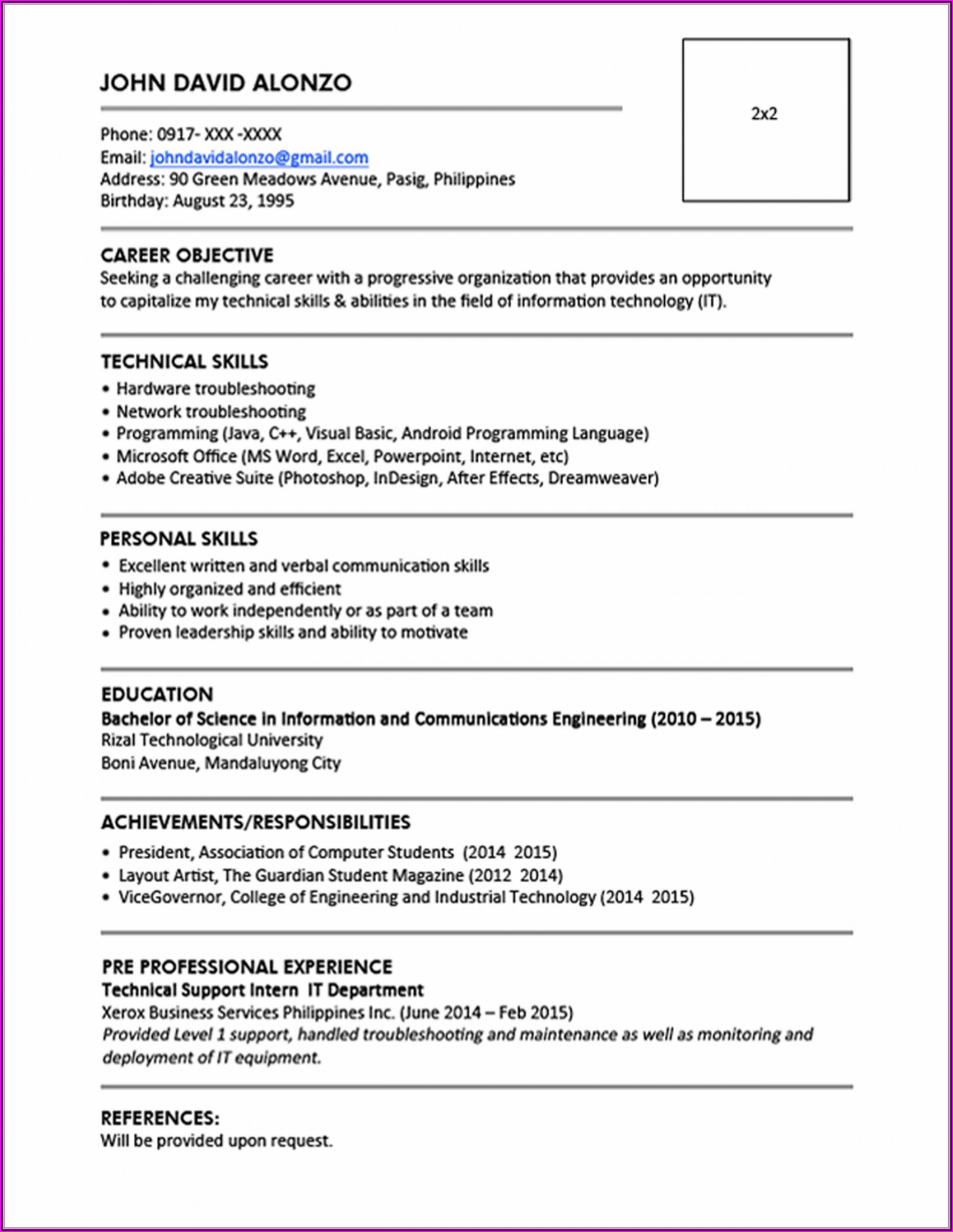 Resume Format For It Professional Freshers