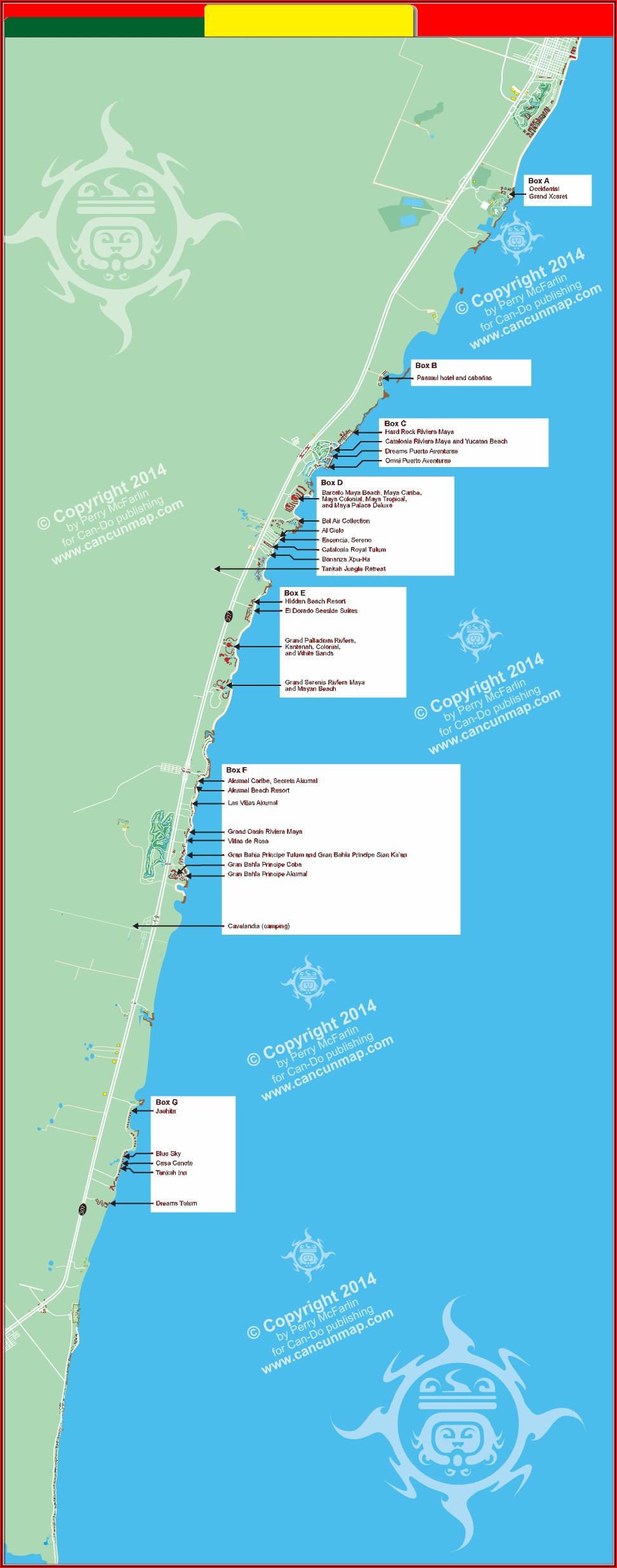 Riviera Maya All Inclusive Resorts Map