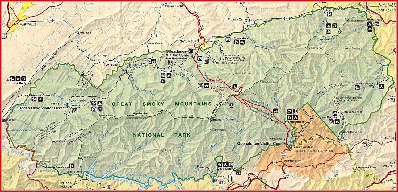 Road Map Of Great Smoky Mountain National Park