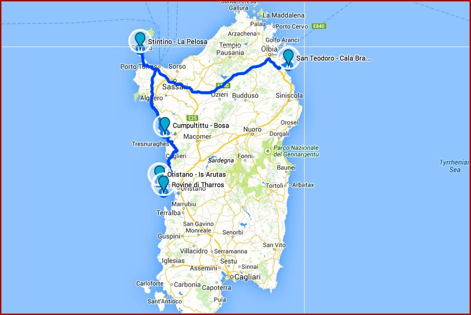 Road Map Of Northern Sardinia