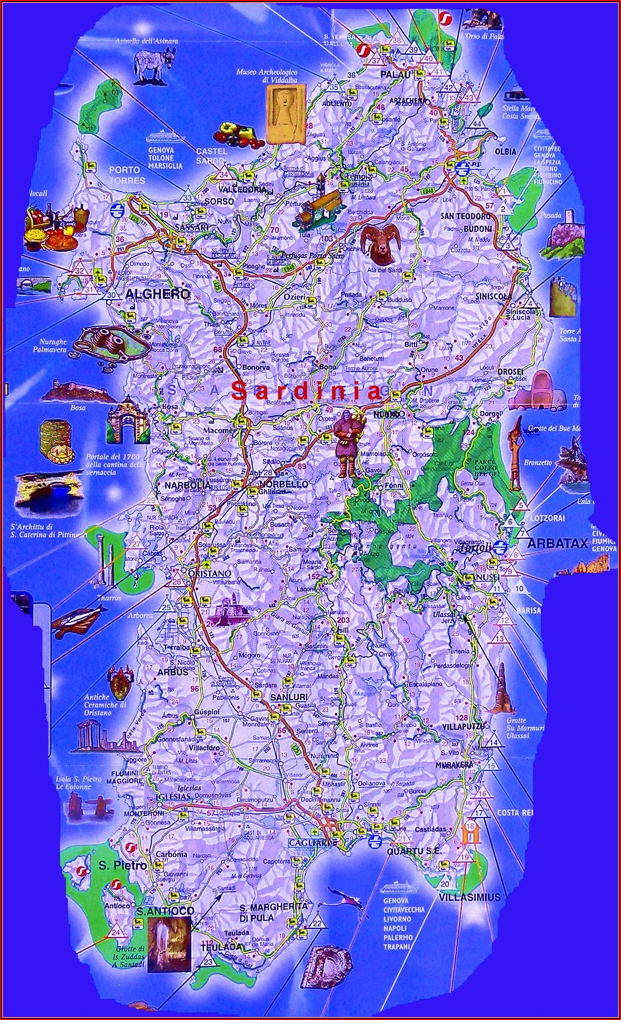 Road Map Of Sardinia Italy