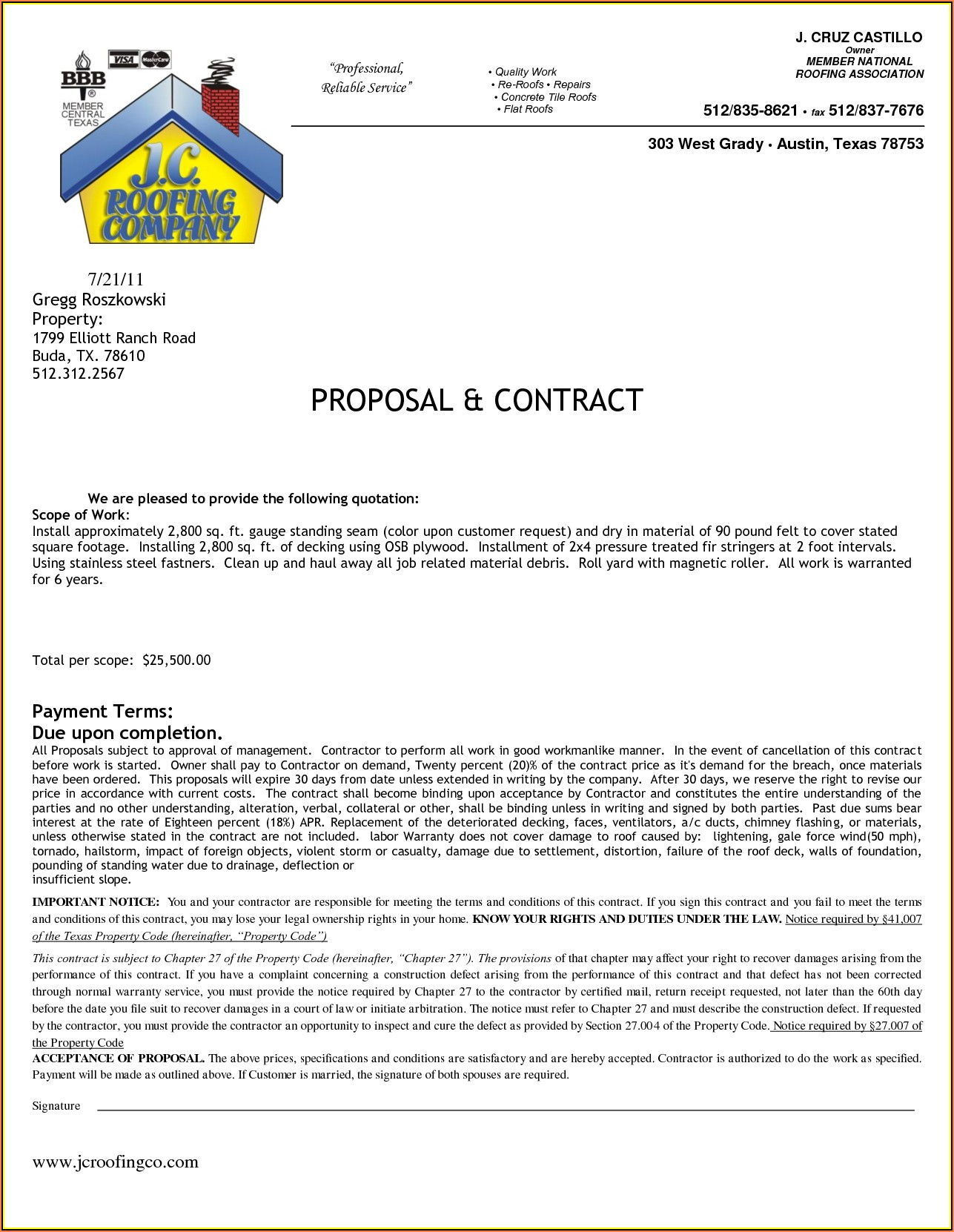 Roofing Agreement Forms