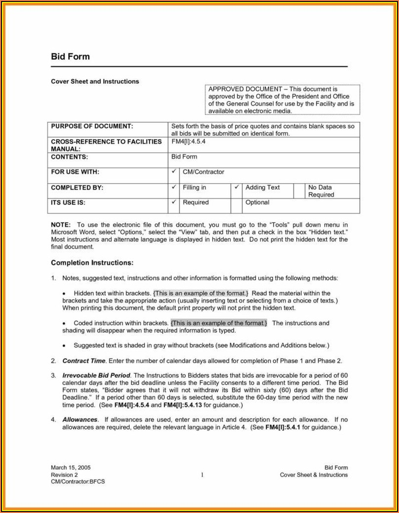 Sample Construction Bid Proposal Form