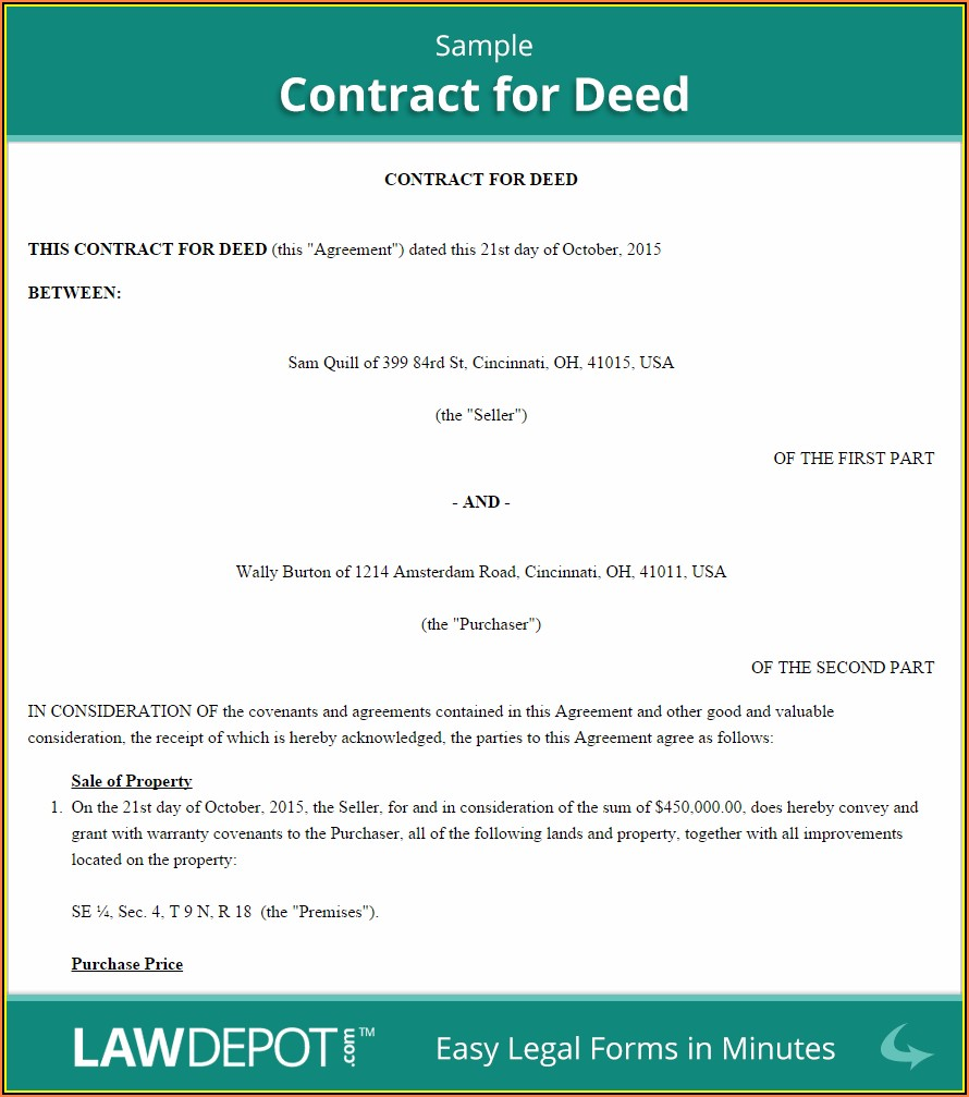 Sample Ohio Land Contract Form