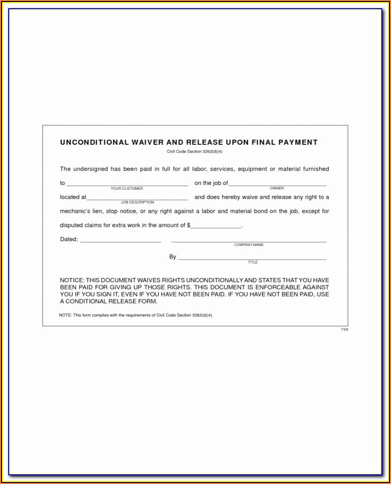 Sba Landlord Lien Waiver Form