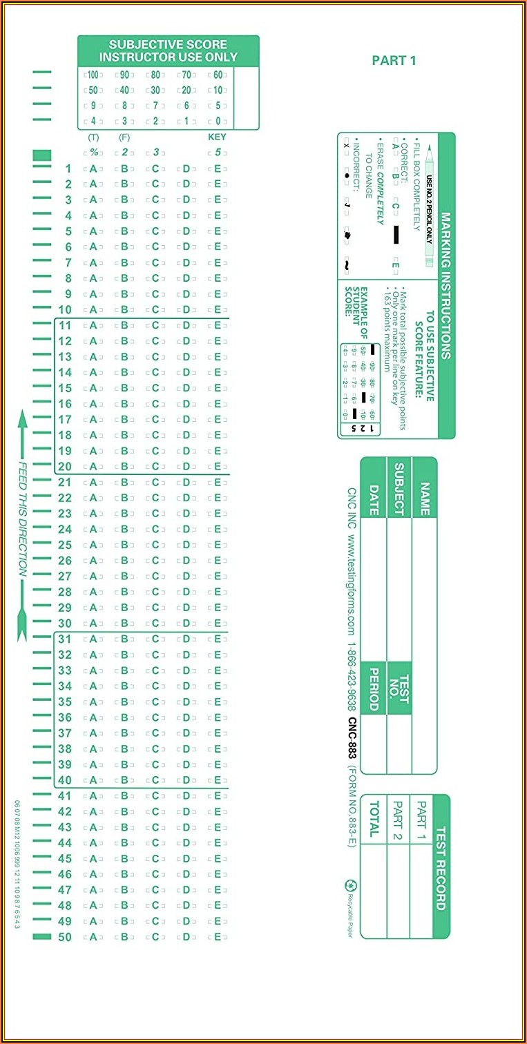Scantron Test Forms Staples