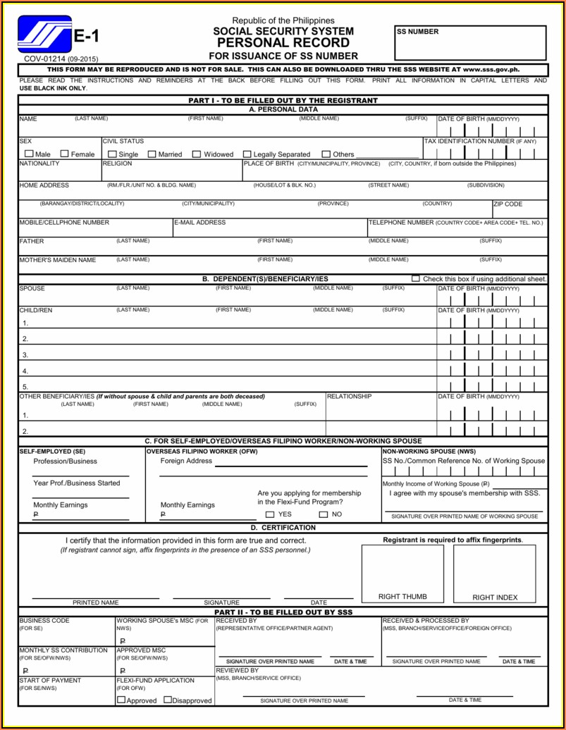 Self Employed Form Sss