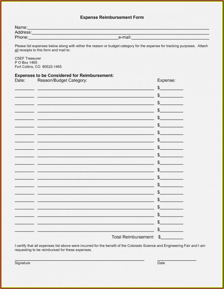 Simple Expense Reimbursement Form Excel