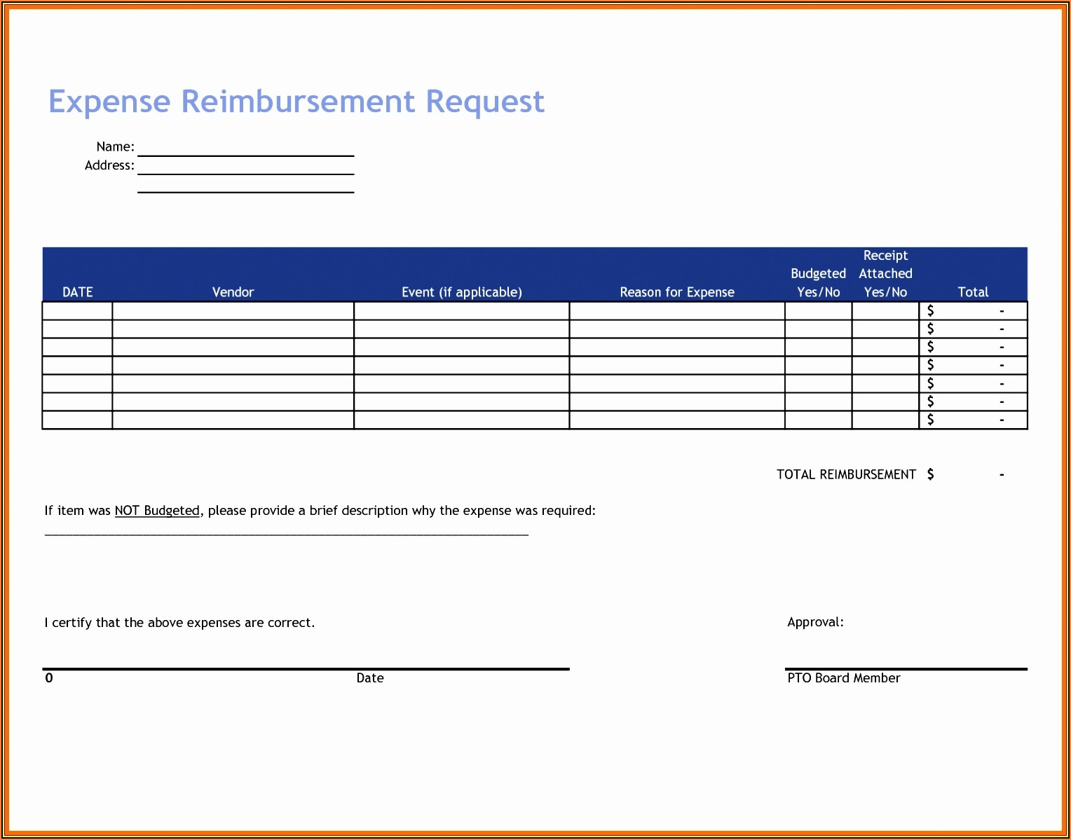 Simple Expense Reimbursement Form Pdf