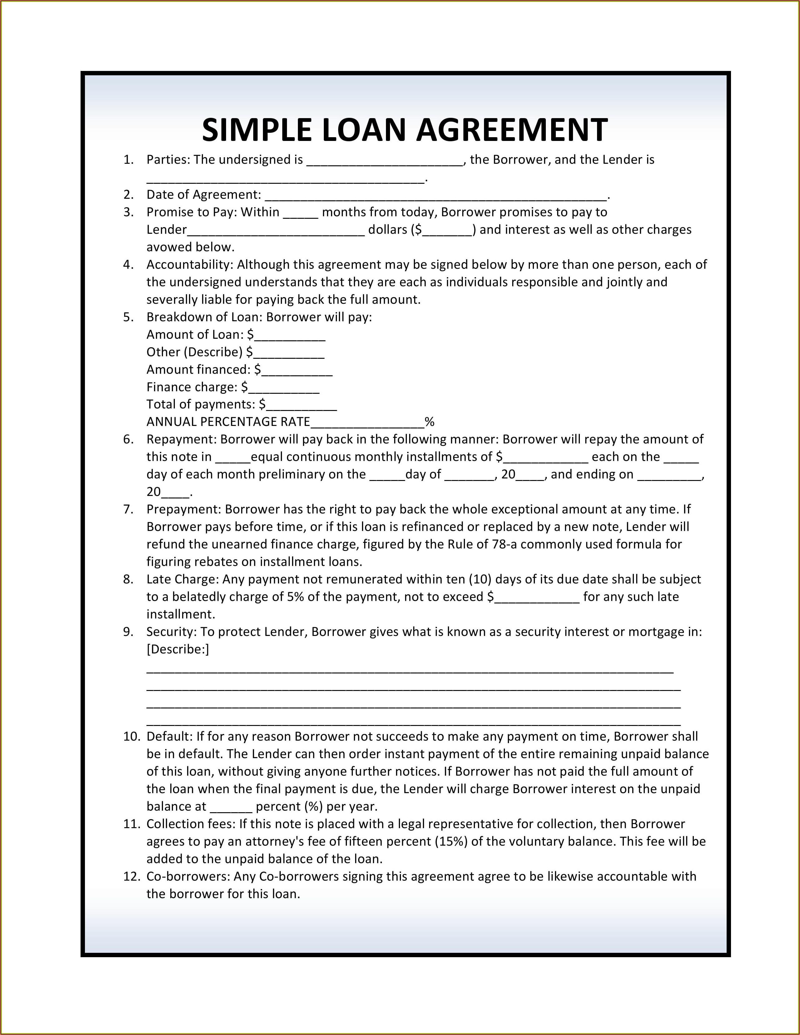Simple Loan Agreement Form