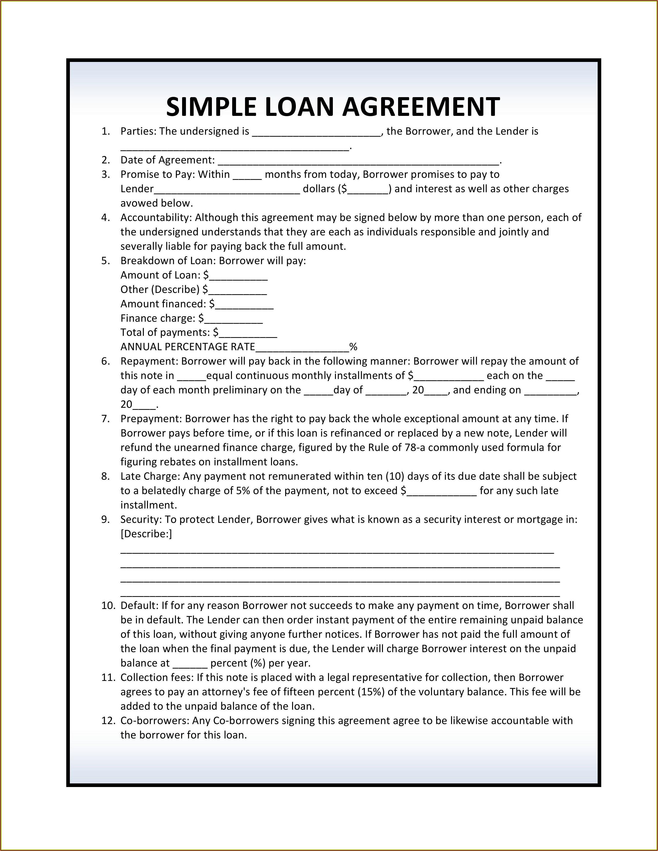 Simple Loan Agreement Format Pdf