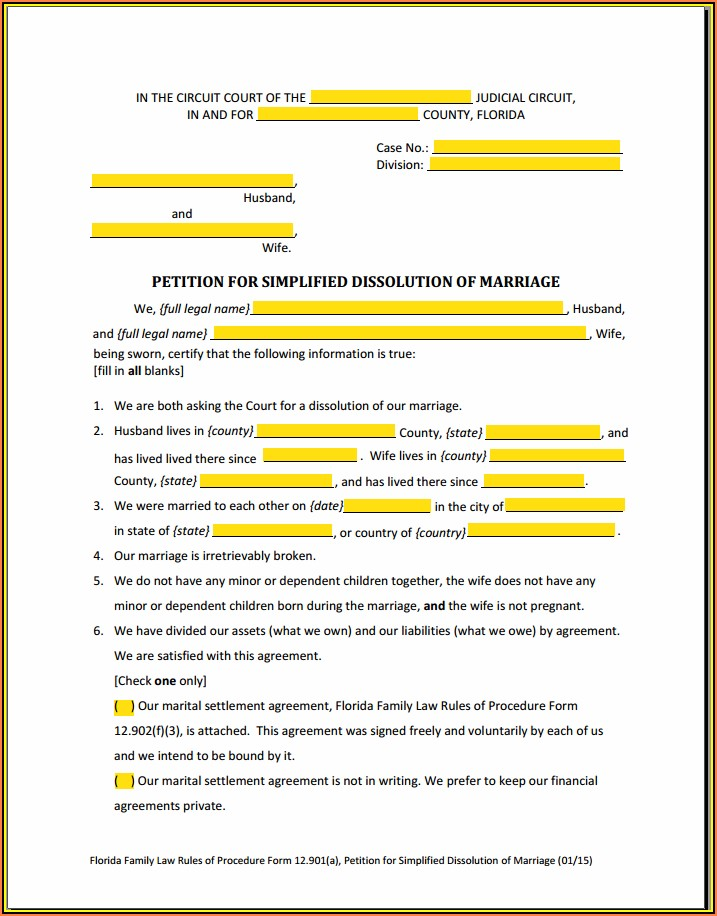 Simplified Divorce Forms In Florida