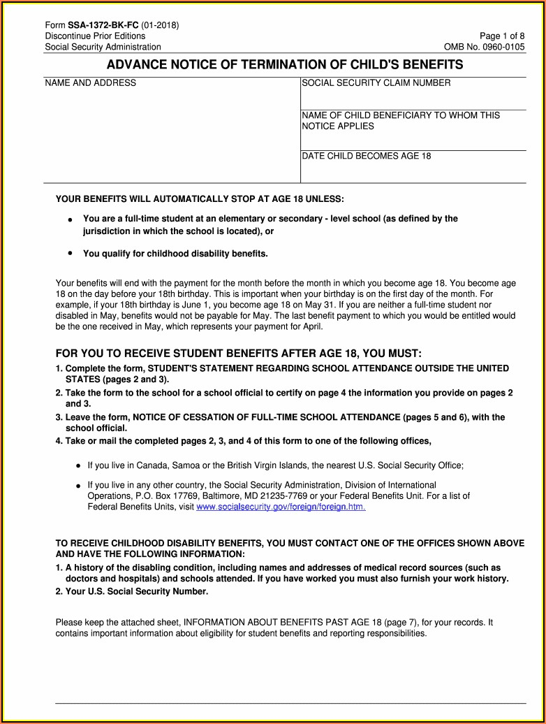 Social Security Benefits Form Pdf