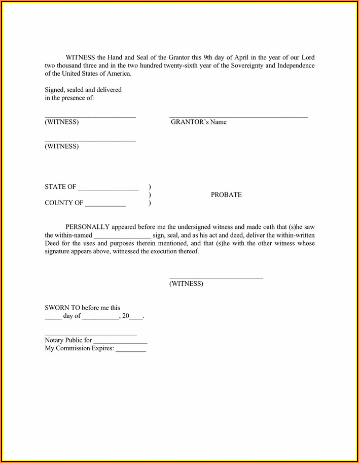 South Carolina Deed Format