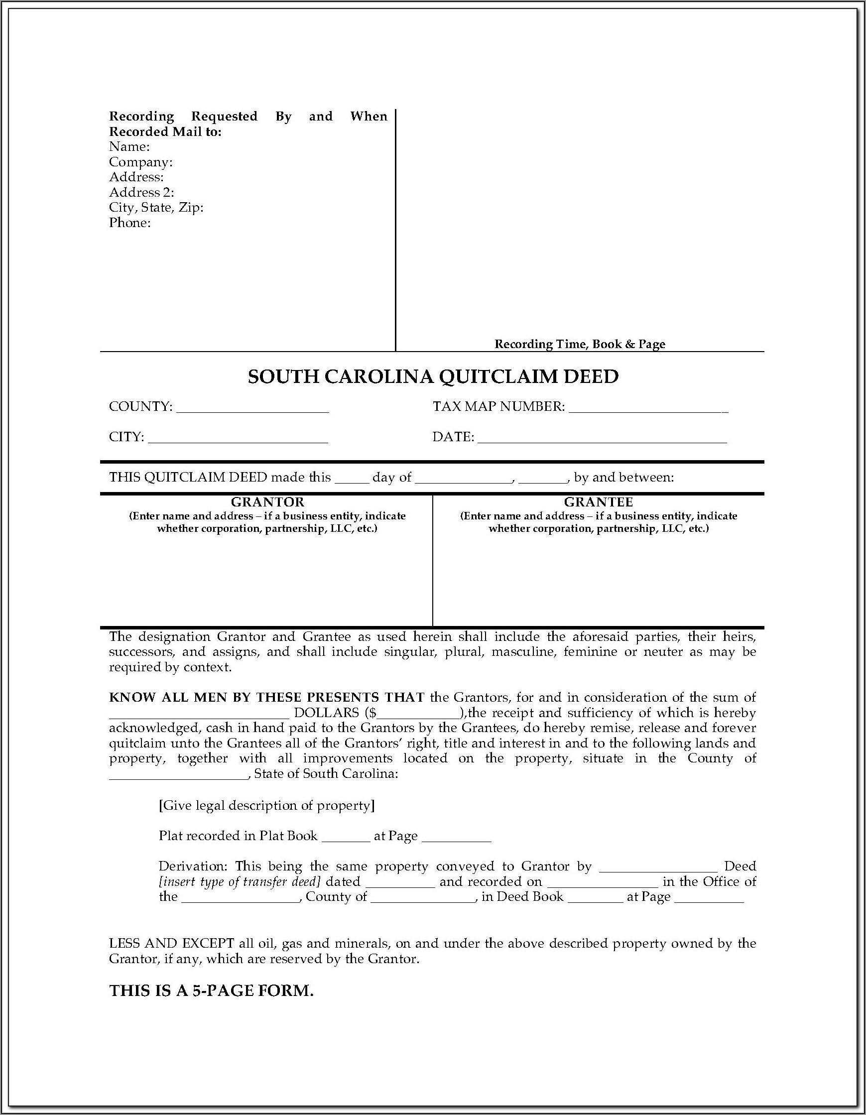 South Carolina Deed Transfer Form