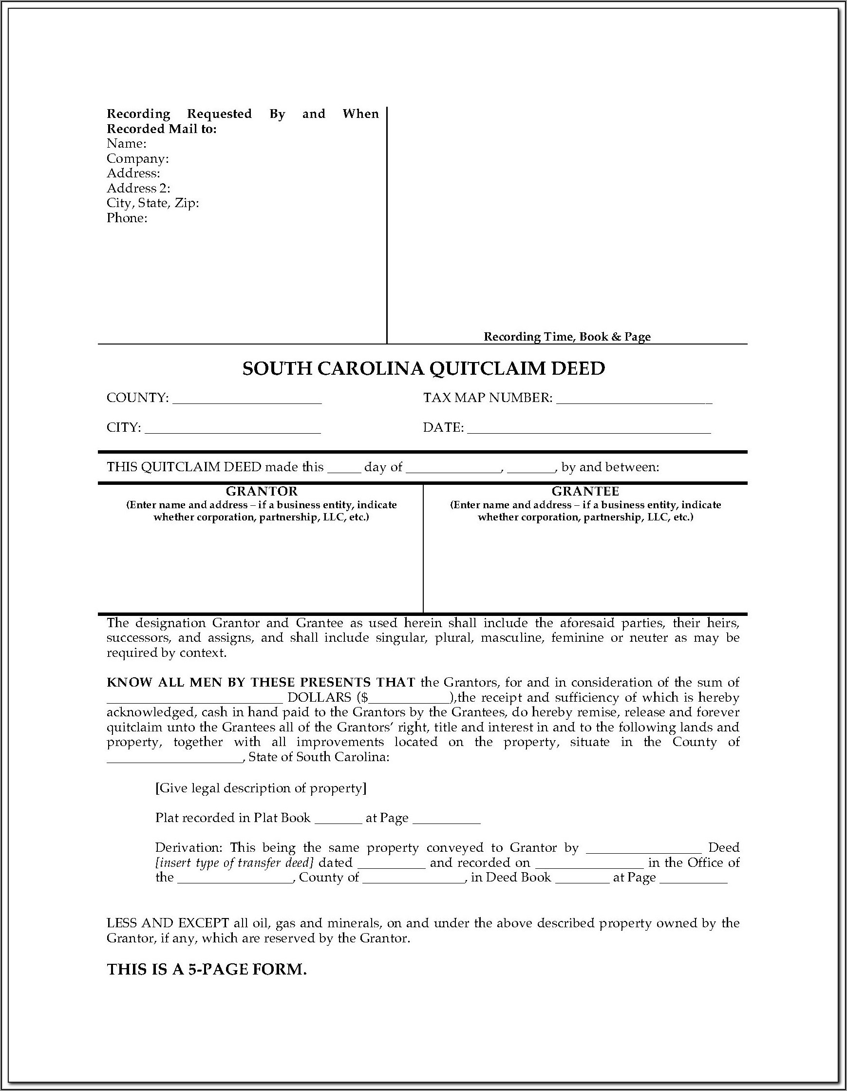 South Carolina Quitclaim Deed Form