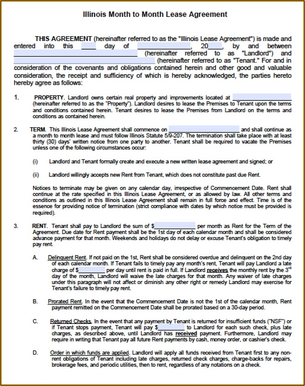 Standard Chicago Apartment Lease Form