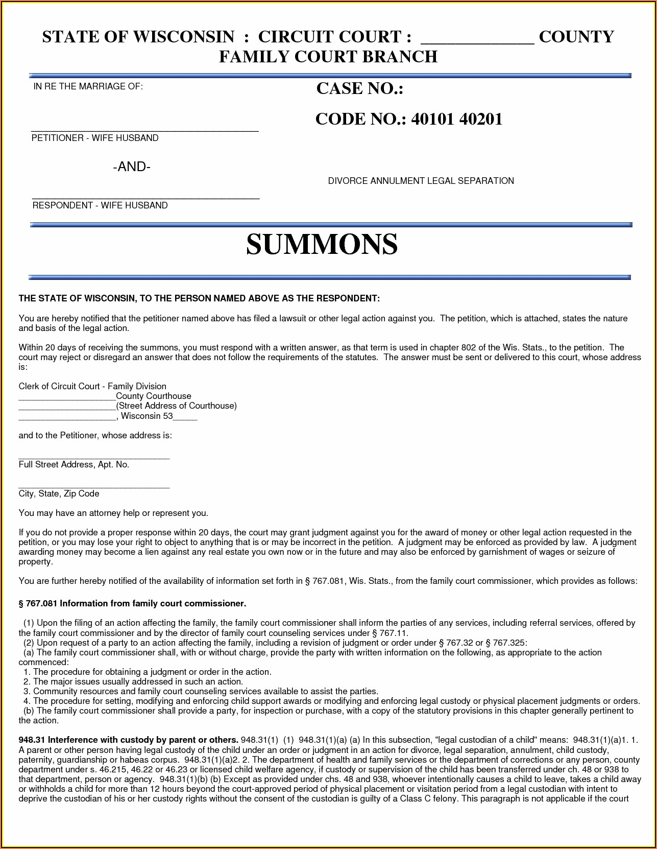 State Of Wisconsin Legal Separation Forms