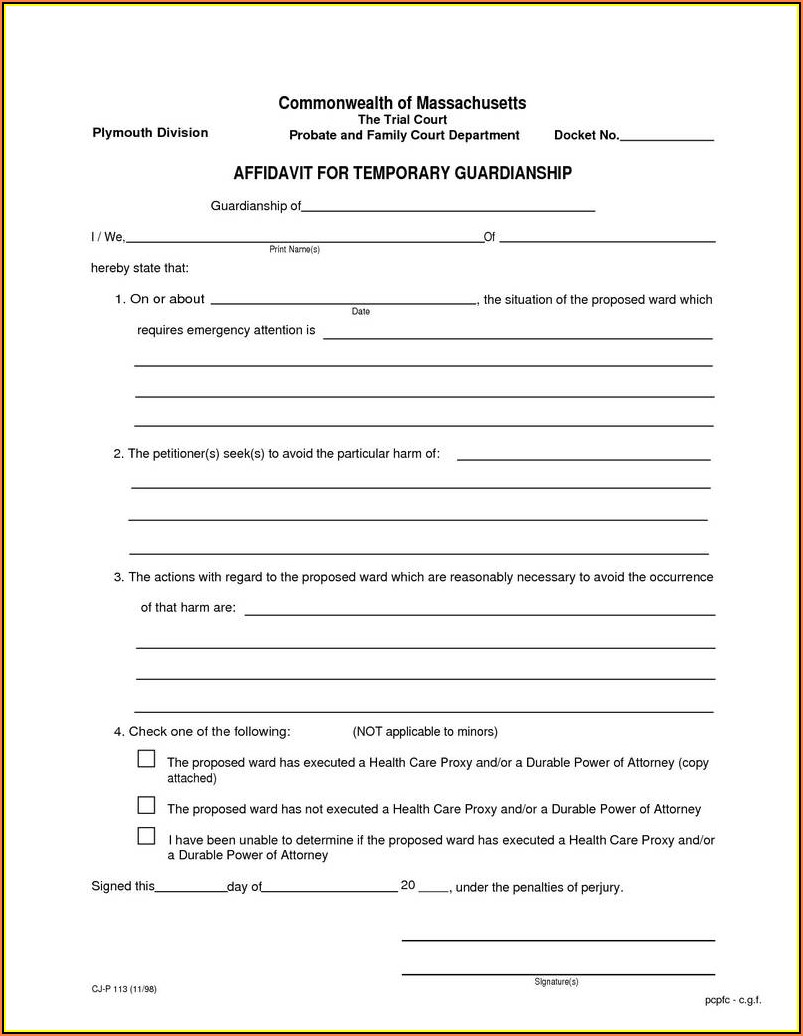 Temporary Legal Guardianship Form Texas