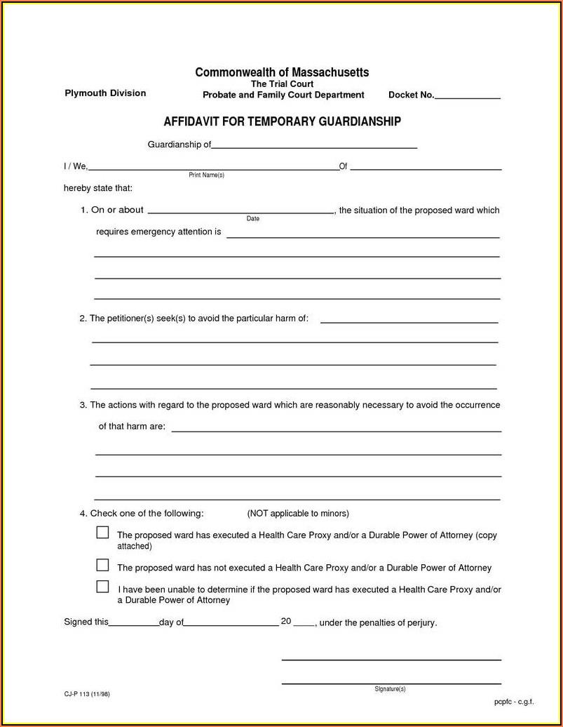 Temporary Legal Guardianship Form Texas