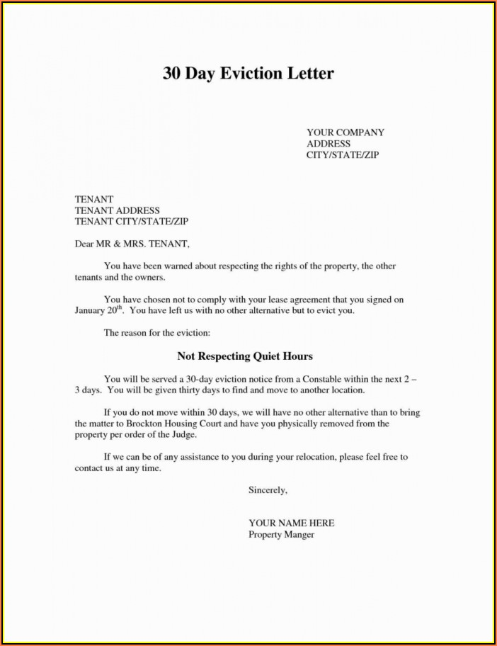 Tenant Eviction Notice Example