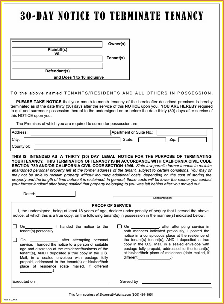 Tenant Eviction Notice Form California