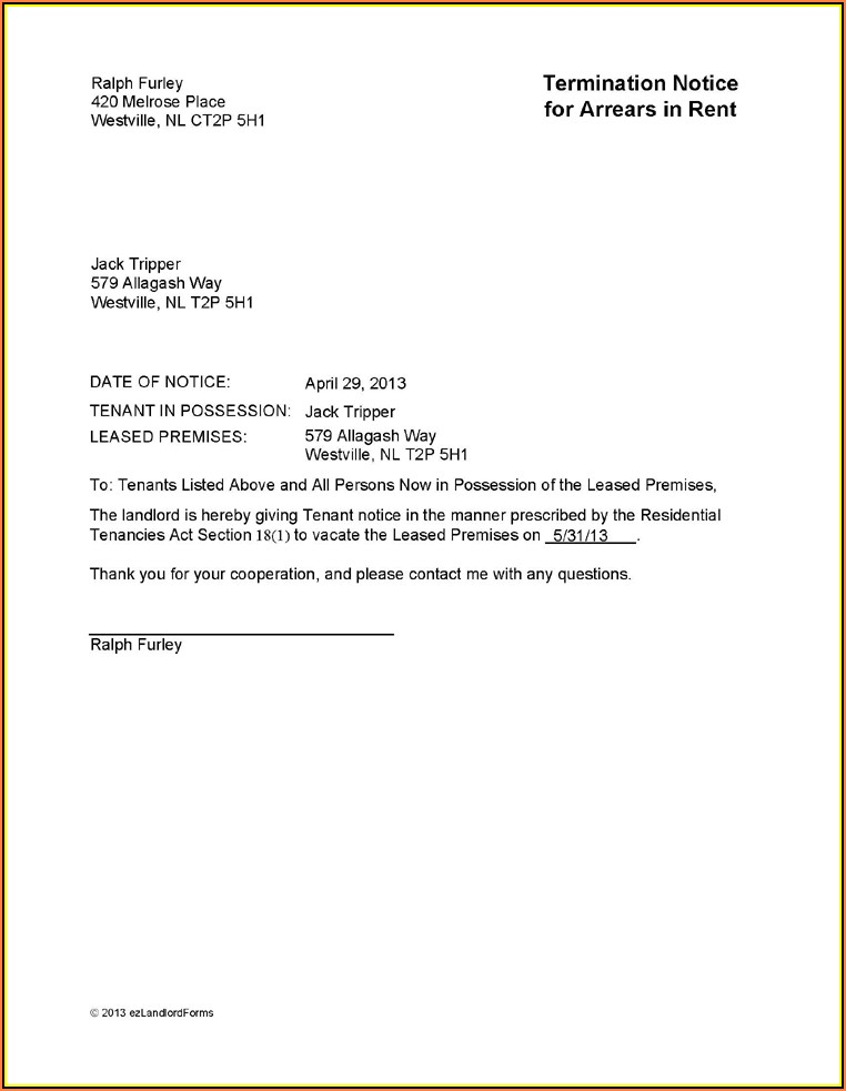 Tenant Eviction Notice Sample Letter