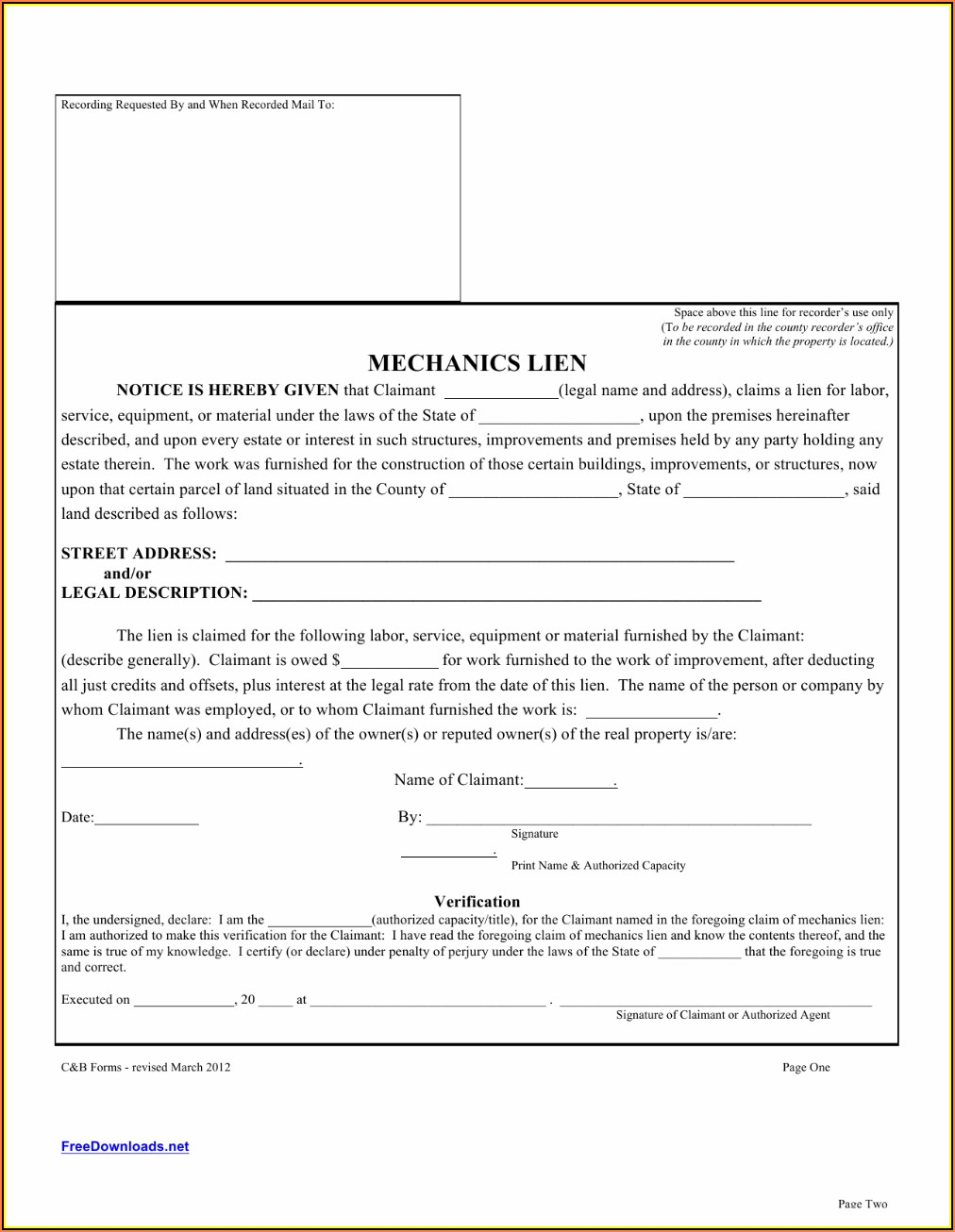 Texas Mechanic's Lien Form Pdf