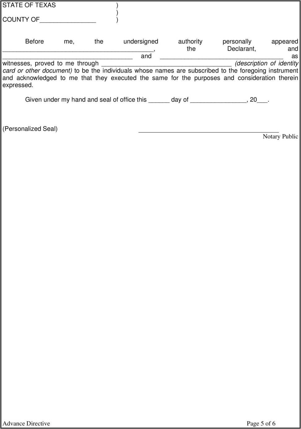 Texas Statutory Advance Medical Directive Form
