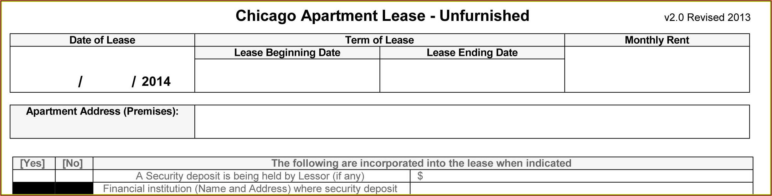 Unfurnished Chicago Apartment Lease Form