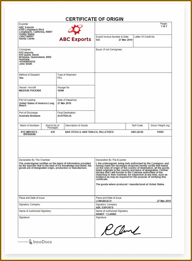 Ups Certificate Of Origin Blank Form