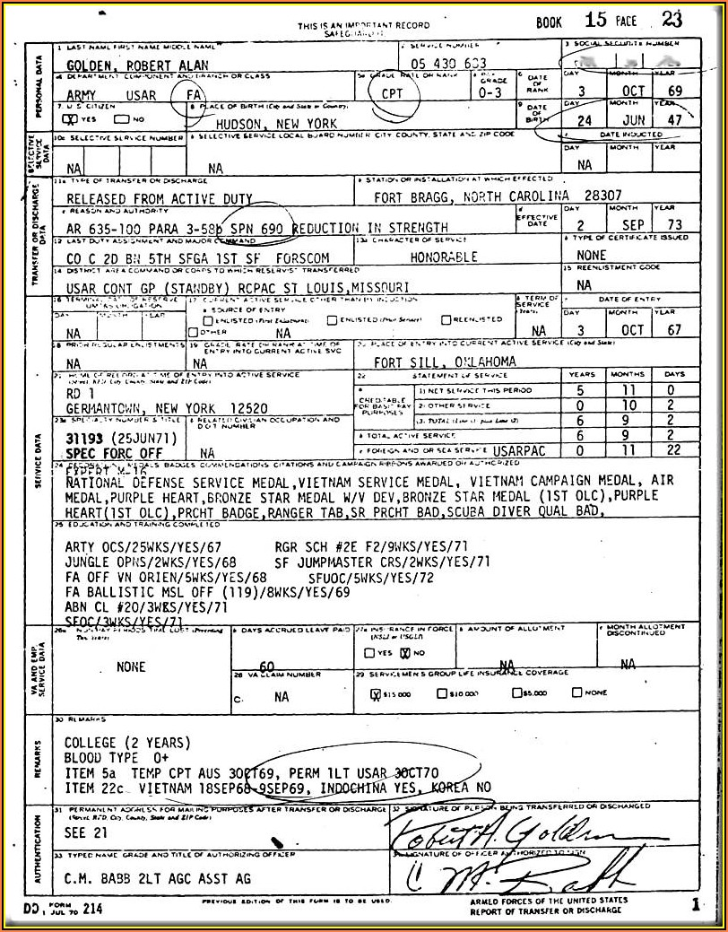 Us Military Dd Form 214