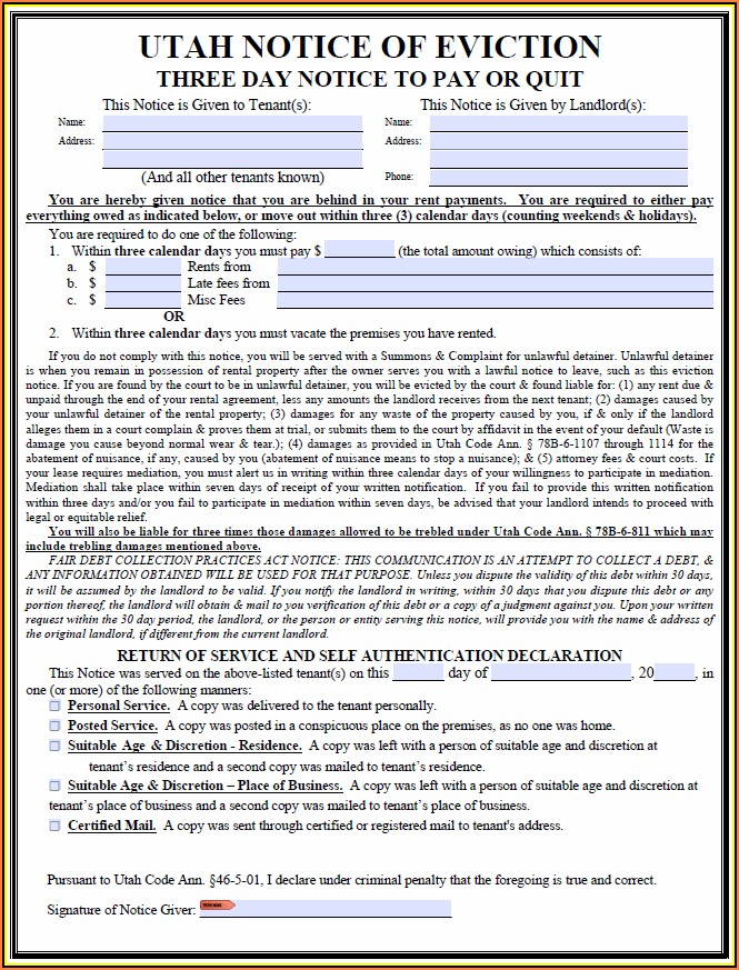 Utah 3 Day Eviction Notice Form