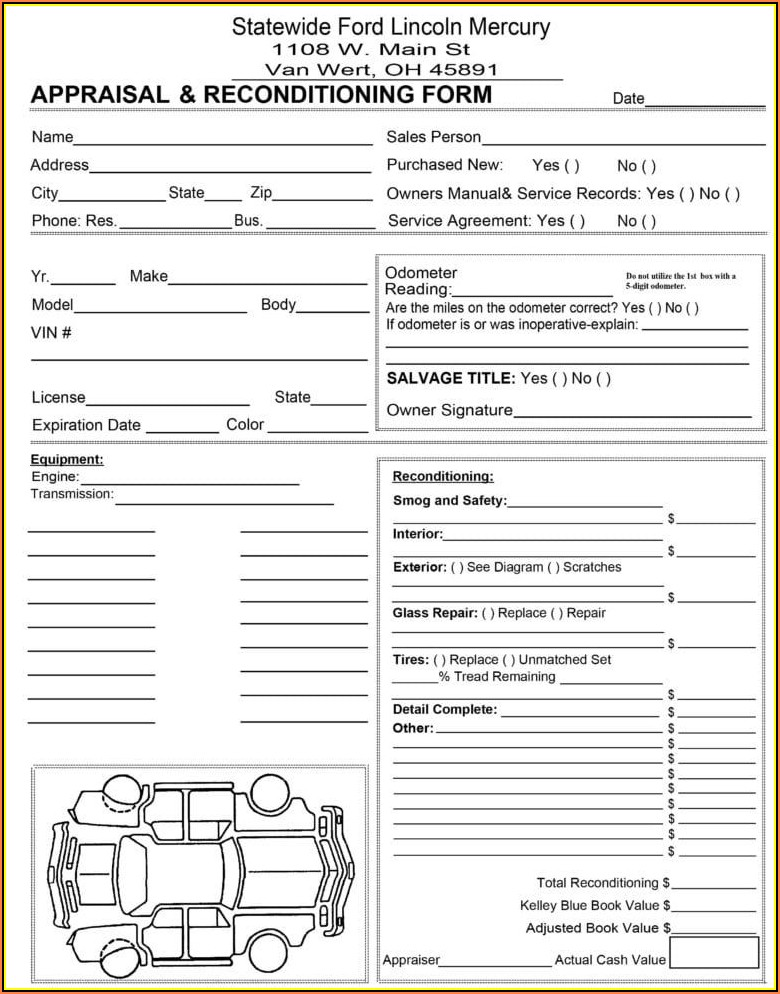 Vehicle Appraisal Form Pdf