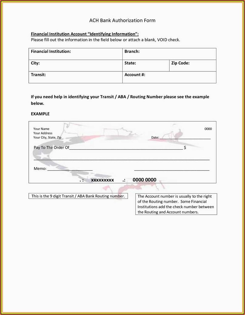 Vendor Ach Enrollment Form Template