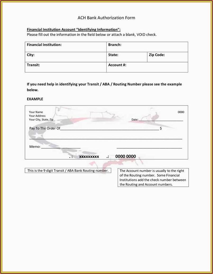 Vendor Ach Enrollment Form Template