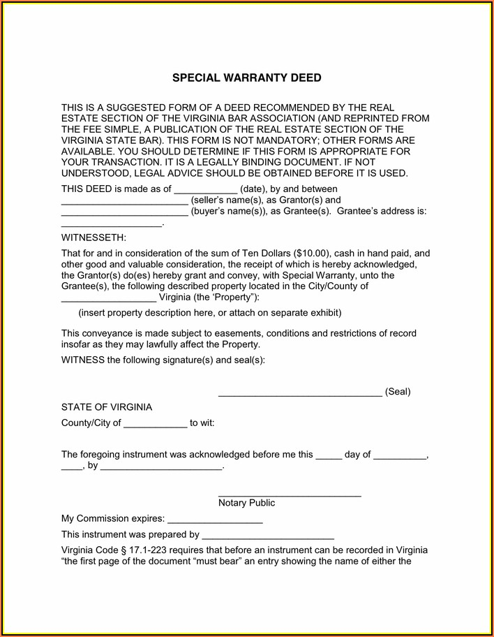 Virginia Special Warranty Deed Form