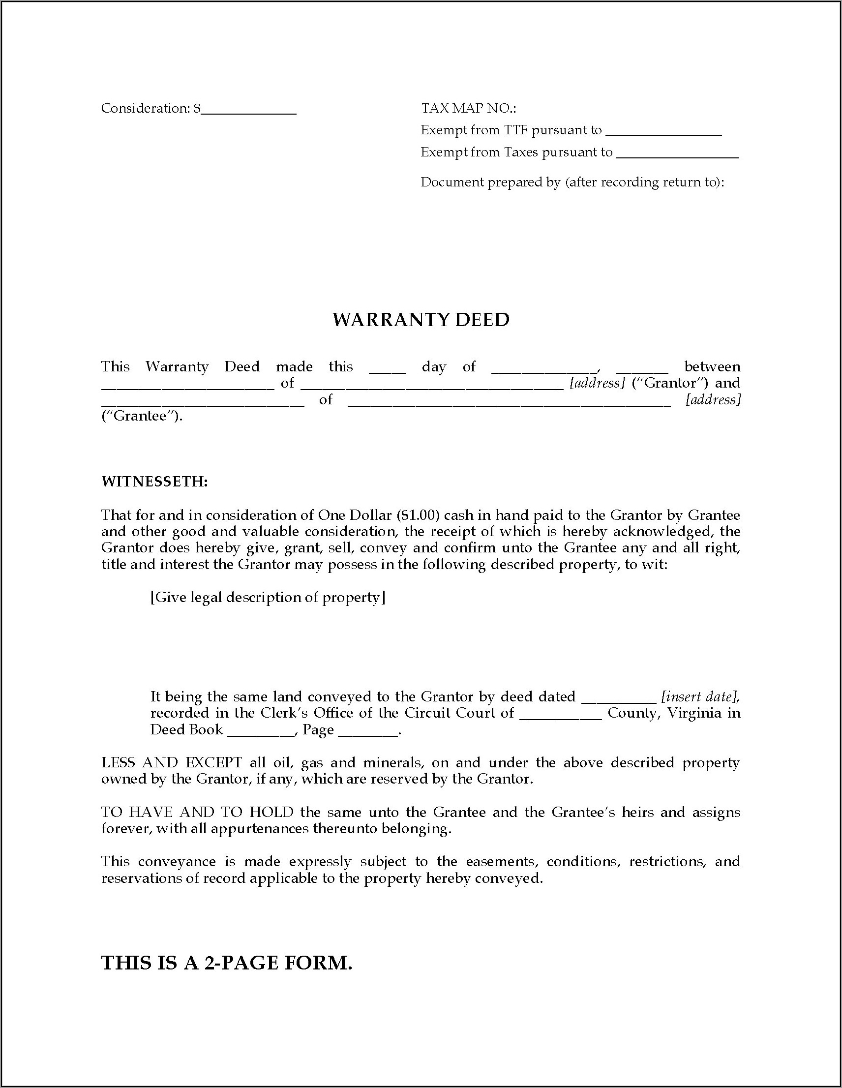 Virginia Warranty Deed Form