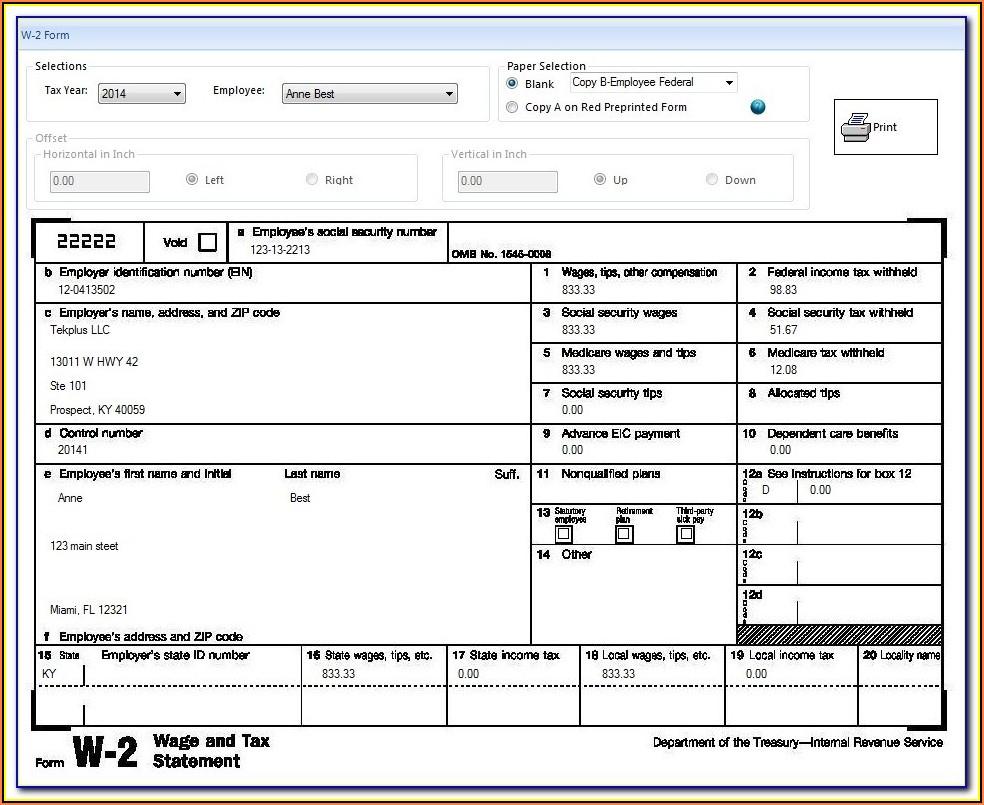 W2 Form Walmart Employee