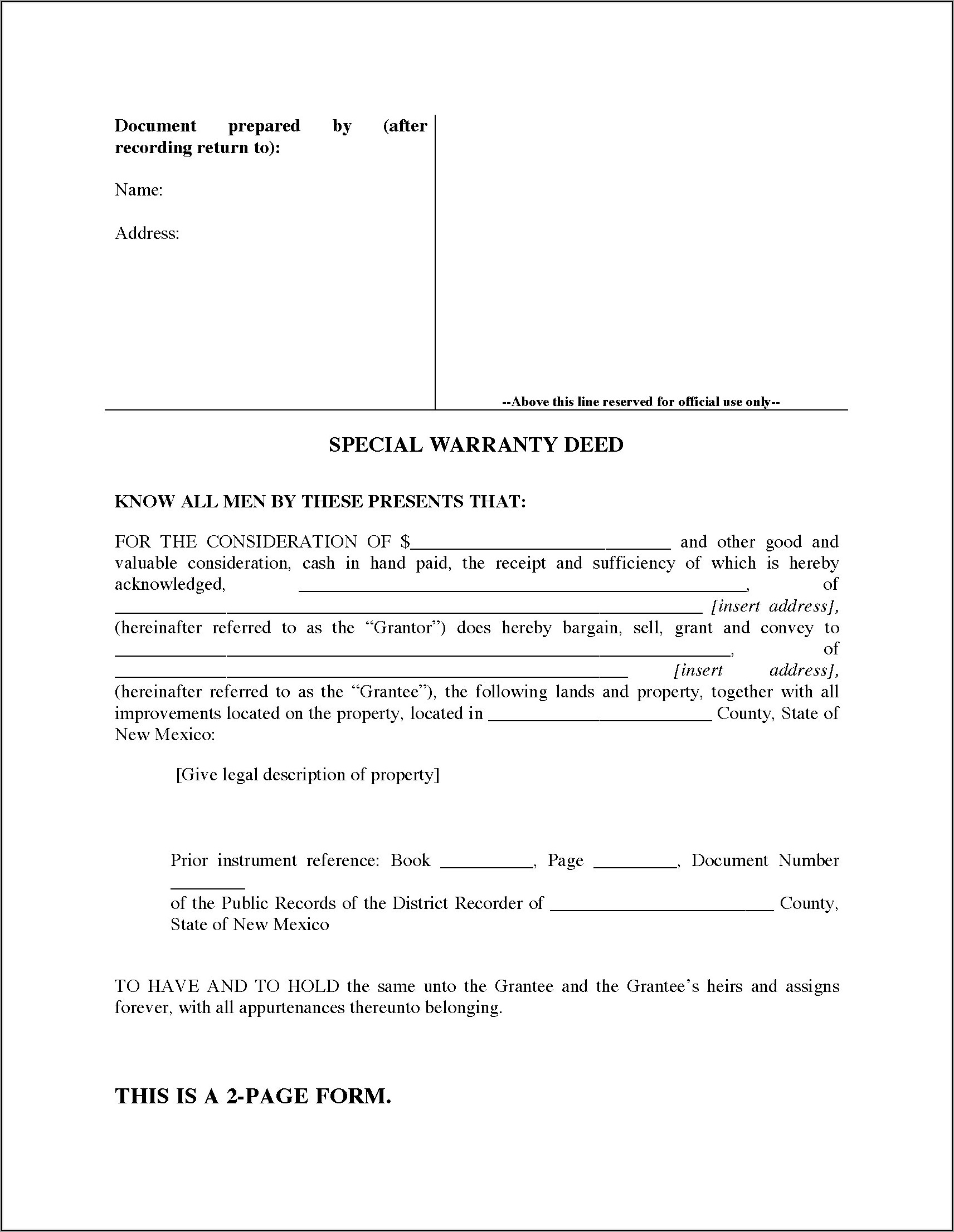 West Virginia Special Warranty Deed Form