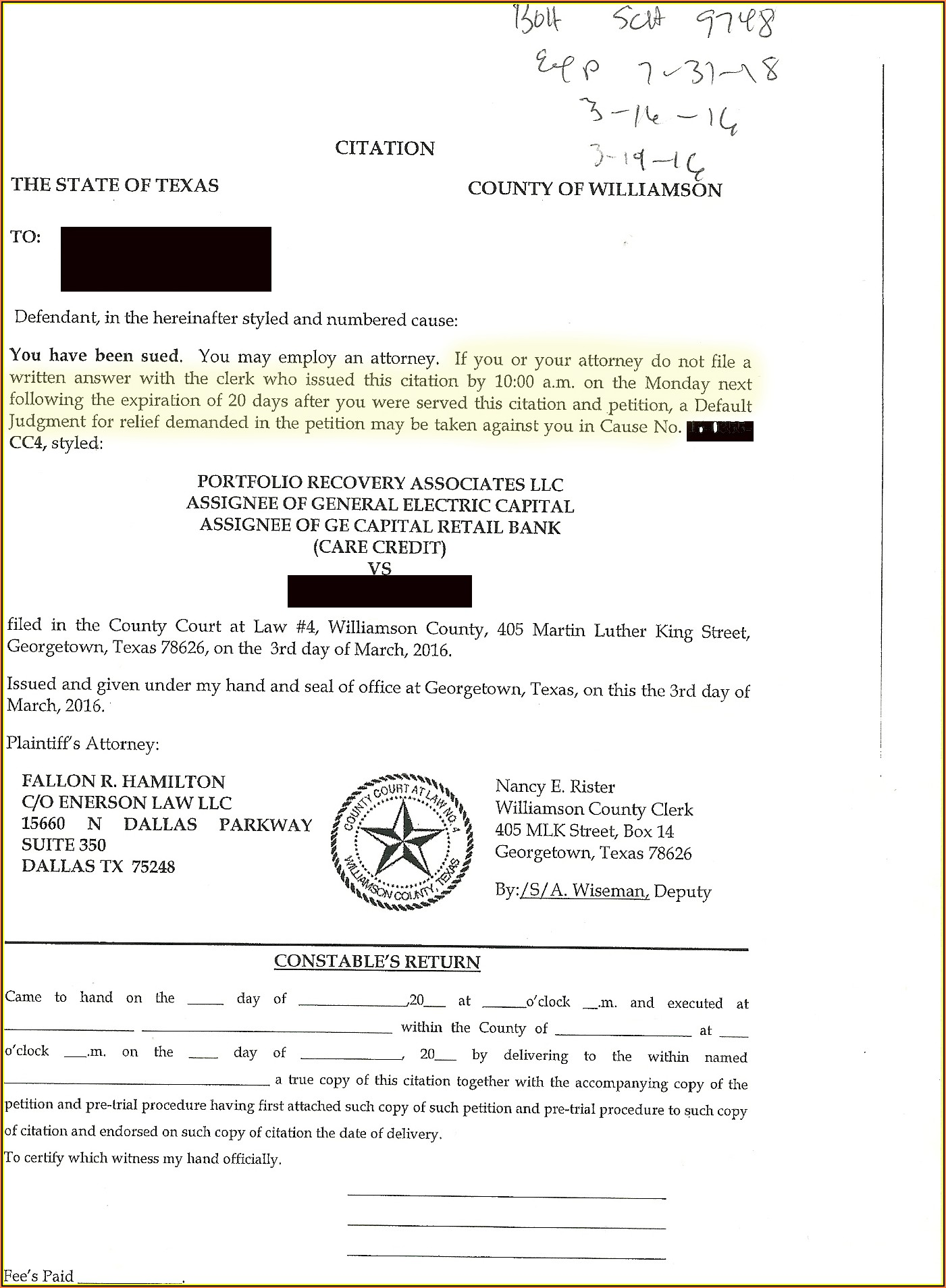 Williamson County Divorce Filing
